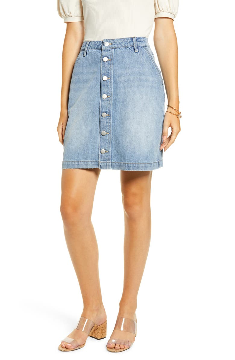 RACHEL PARCELL Button Front Denim Skirt, Main, color, 420