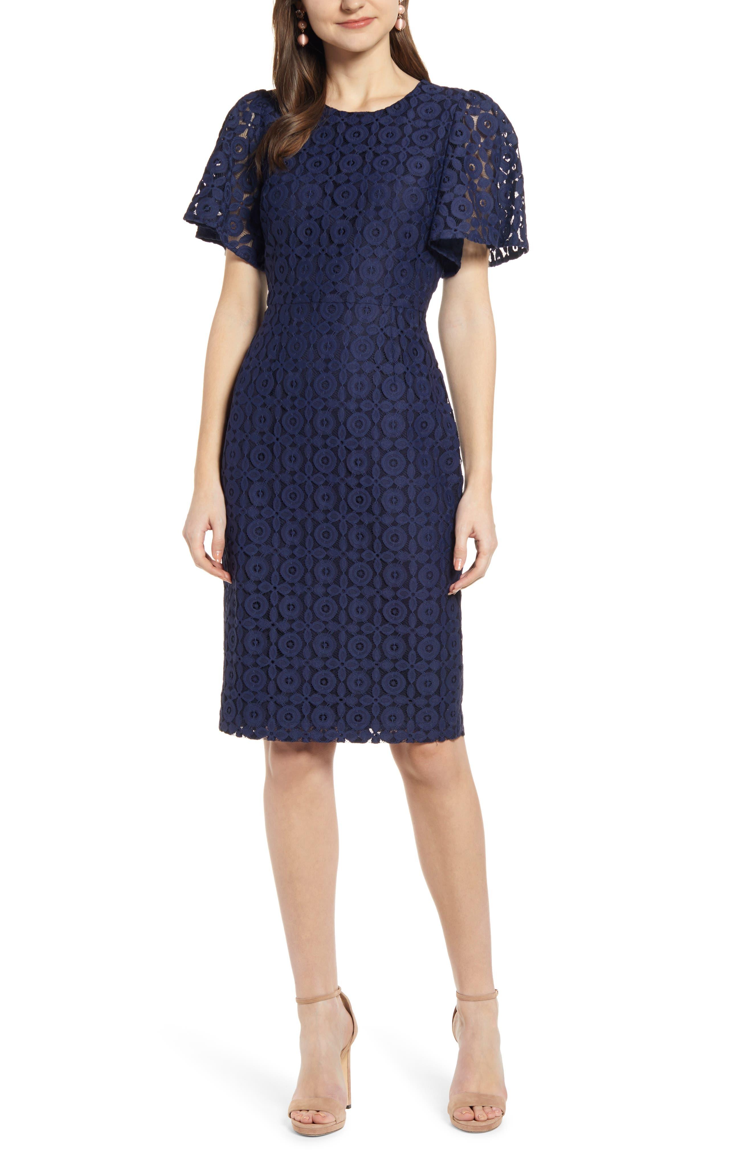 ,                             Flutter Sleeve Lace Sheath Dress,                             Main thumbnail 1, color,                             NAVY PEACOAT