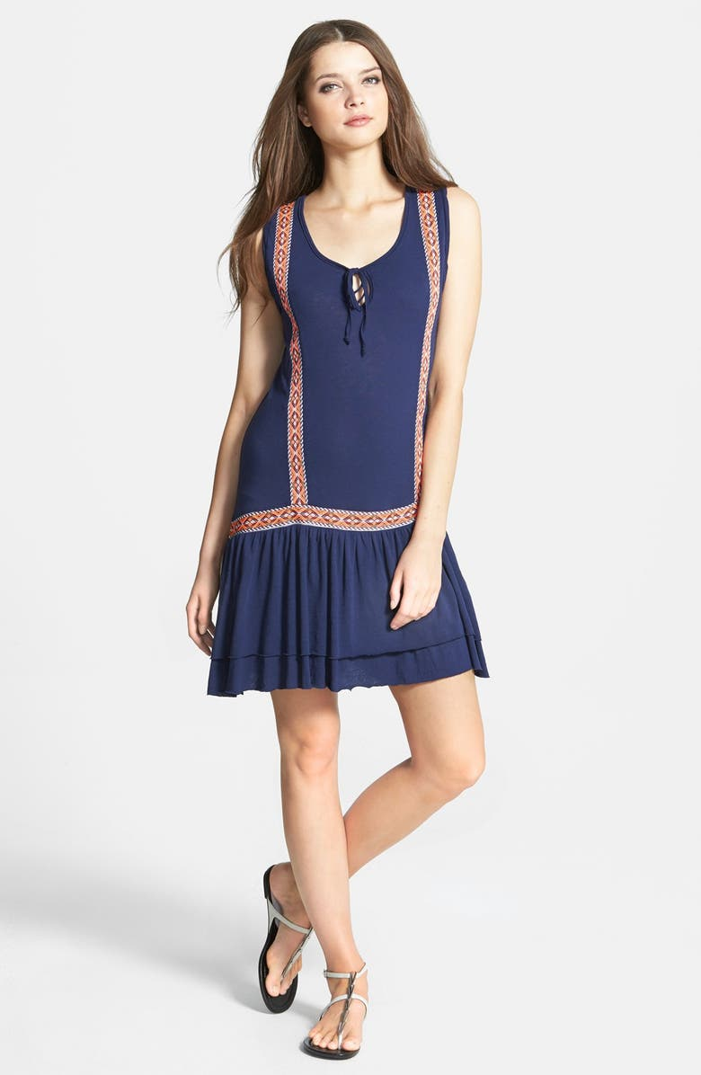 LAMADE Embroidered Trim Drop Waist Supima<sup>®</sup> Cotton & Micromodal Dress, Main, color, 406