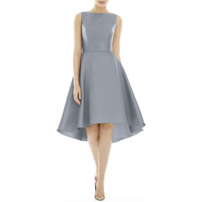 Alfred Sung High/low Satin Twill Cocktail Dress, Grey