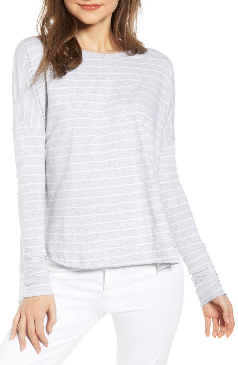 FRANK & EILEEN TEE LAB Long Sleeve Shirttail Tee, Main, color, GRAY W/ WHITE MELANGE STRIPE