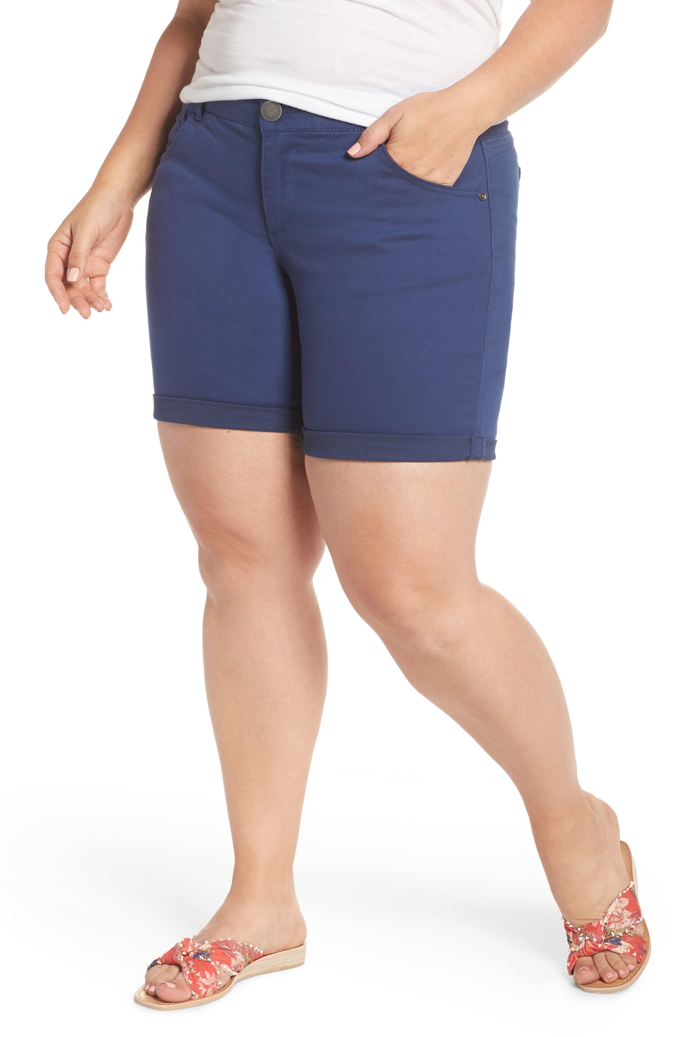 Plus Women's Wit & Wisdom Ab-Solution Stretch Cotton Shorts