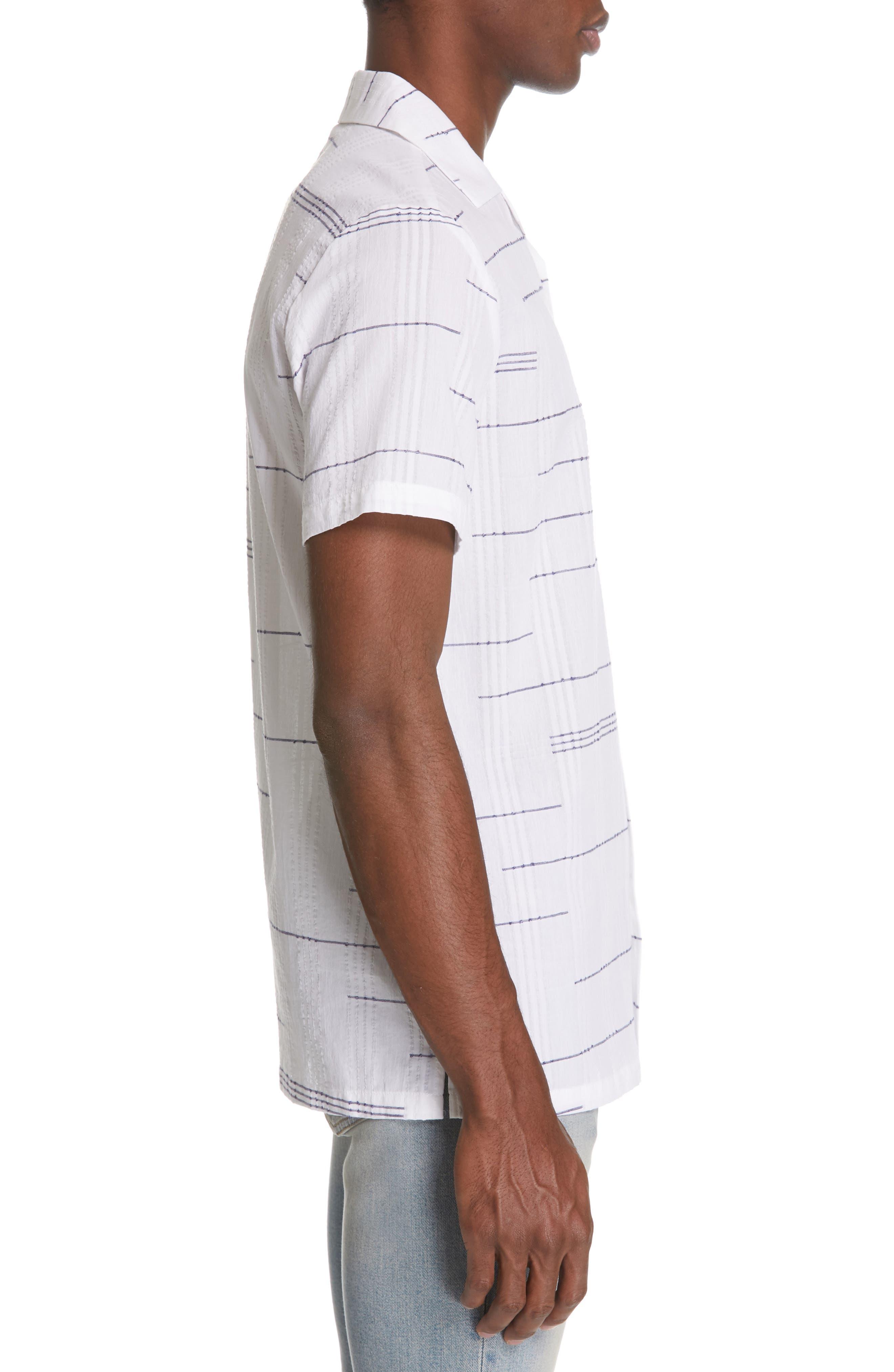 ,                             Embroidered Stripe Woven Shirt,                             Alternate thumbnail 4, color,                             WHITE