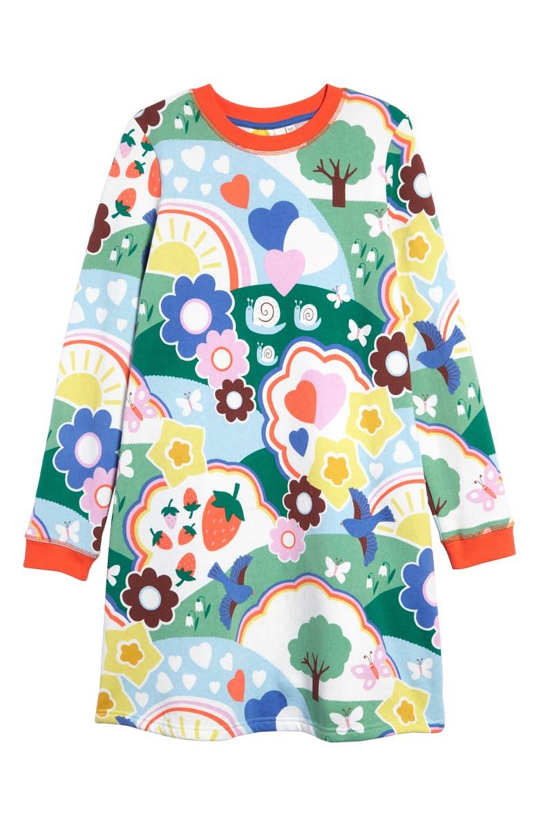 MINI BODEN Boden Print Sweatshirt Dress, Main, color, MBL COLLEGE BLUE FOIL MERMAIDS