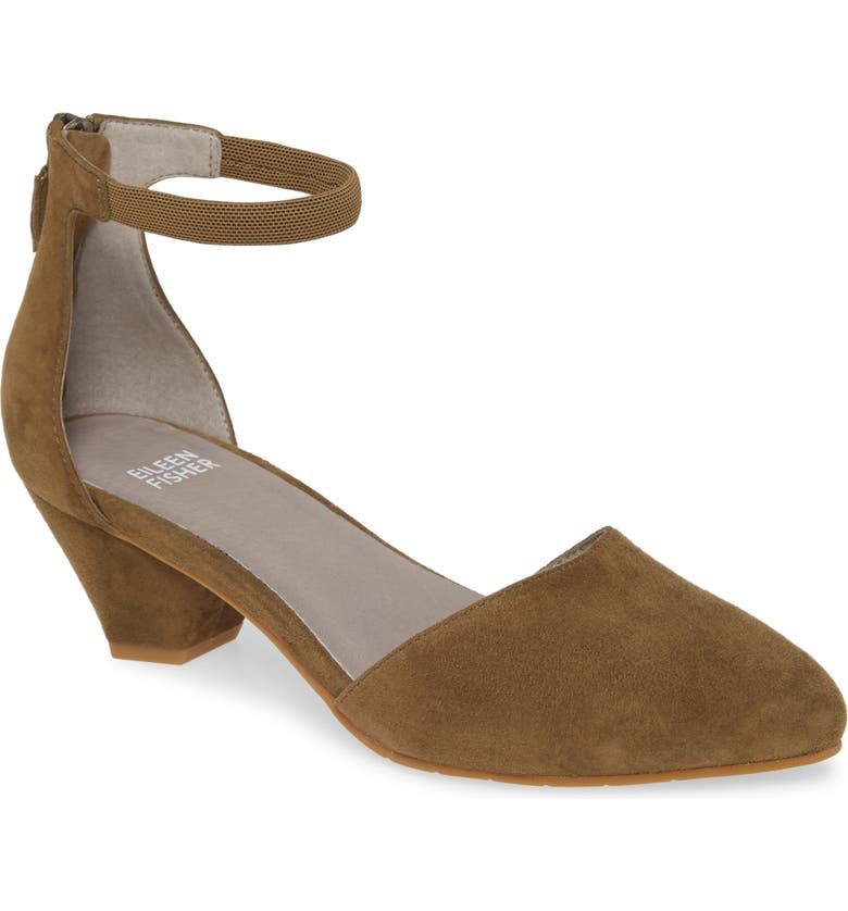 EILEEN FISHER Just Open Sided Pump, Main, color, OLIVINE SUEDE