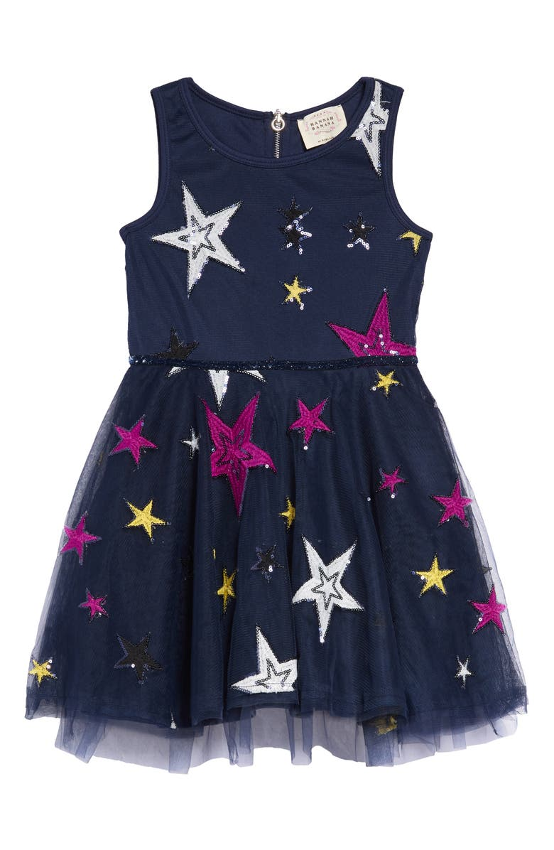 HANNAH BANANA Embroidered Star Fit & Flare Dress, Main, color, NAVY