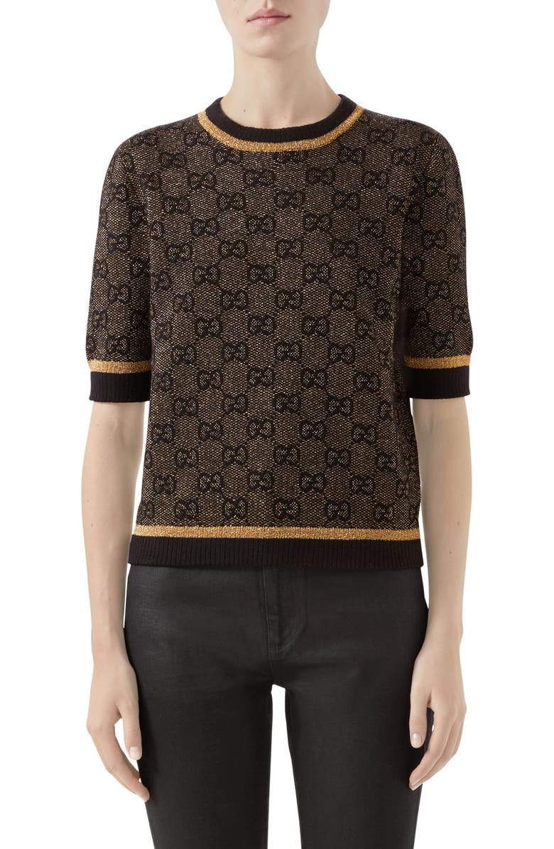 GUCCI GG Logo Metallic Jacquard Sweater, Main, color, BLACK/ GOLD