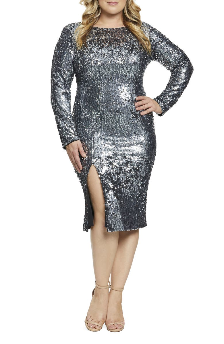 DRESS THE POPULATION Natalie Front Slit Sequin Cocktail Sheath, Main, color, 040