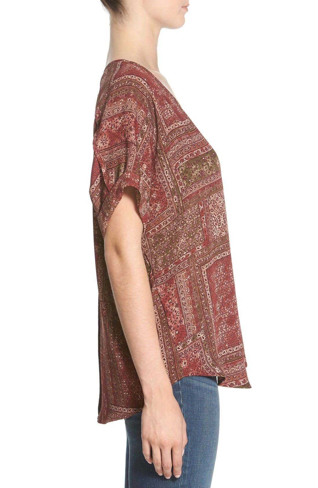 ,                             Lush Cuff Sleeve Woven Tee,                             Alternate thumbnail 203, color,                             933
