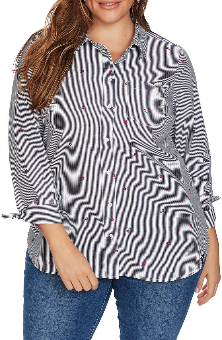 COURT & ROWE Floral Embroidery Pinstripe Cotton Button-Up Shirt, Main, color, RICH BLACK