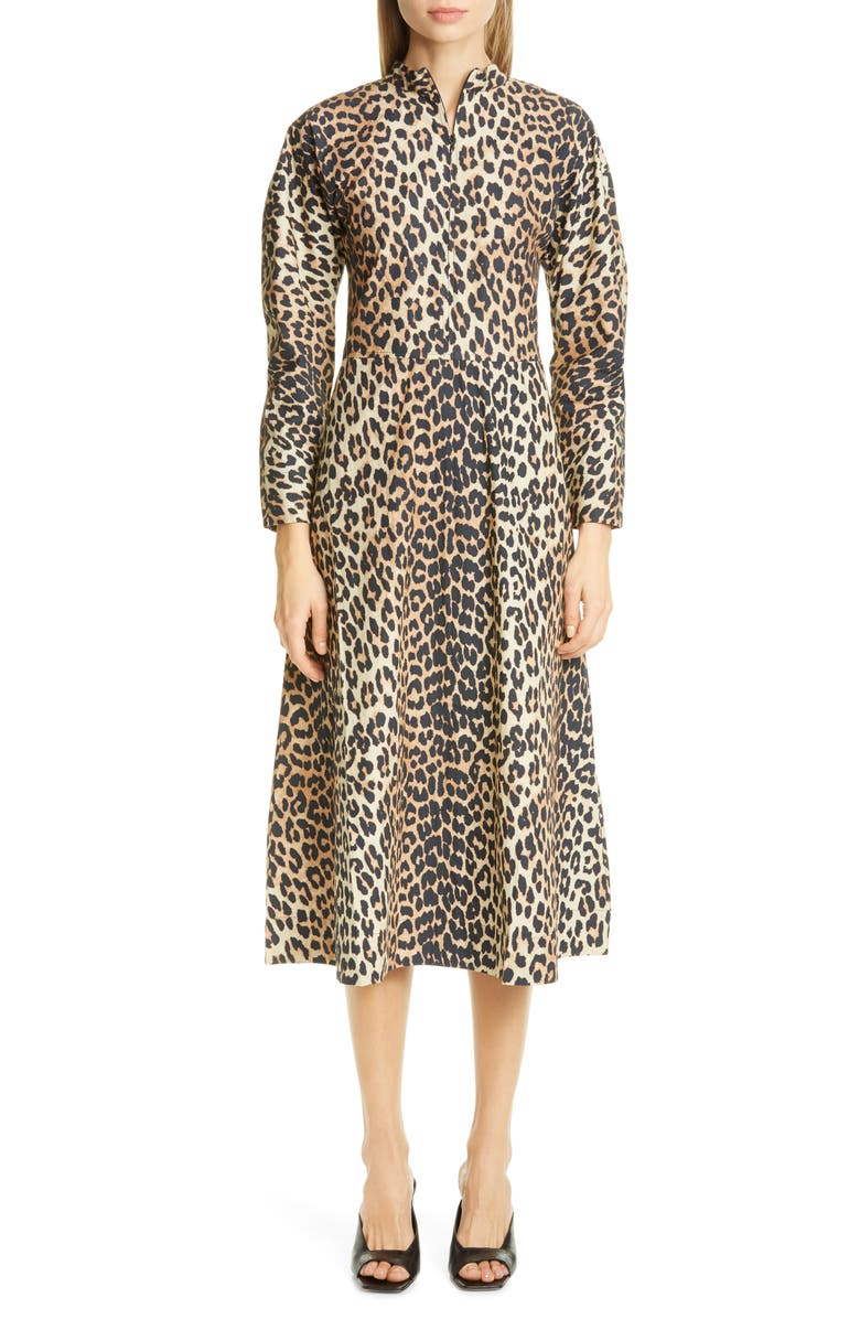 GANNI Leopard Print Long Sleeve Poplin Midi Dress, Main, color, LEOPARD 943