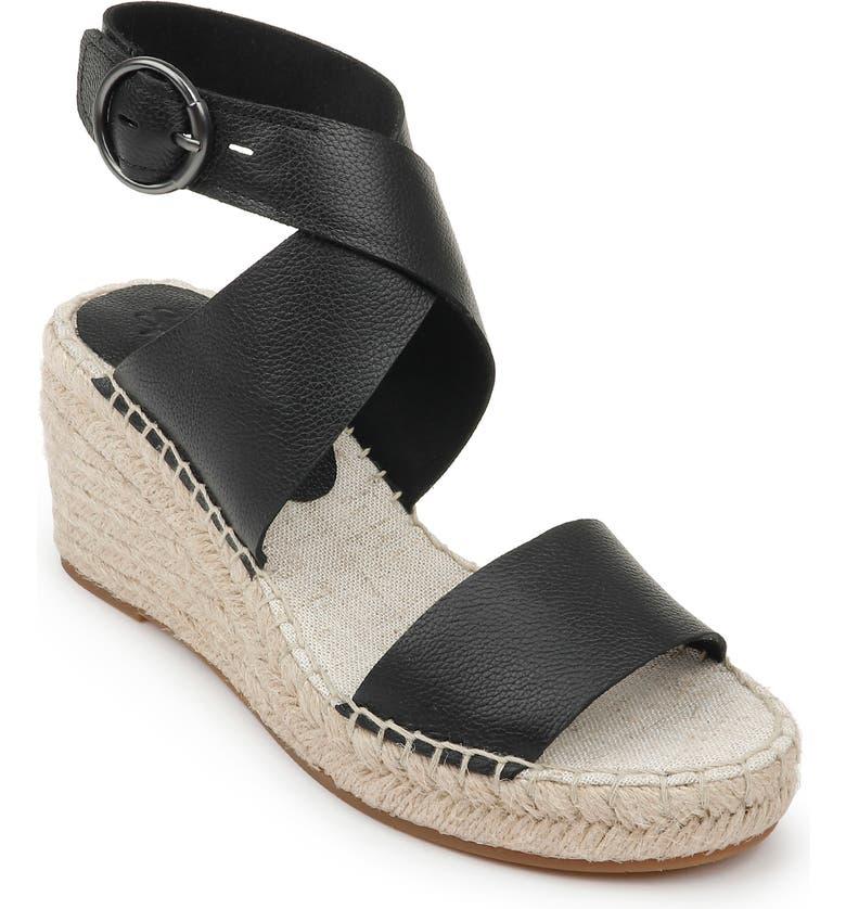 SPLENDID Addie Wedge Espadrille Sandal, Main, color, BLACK LEATHER
