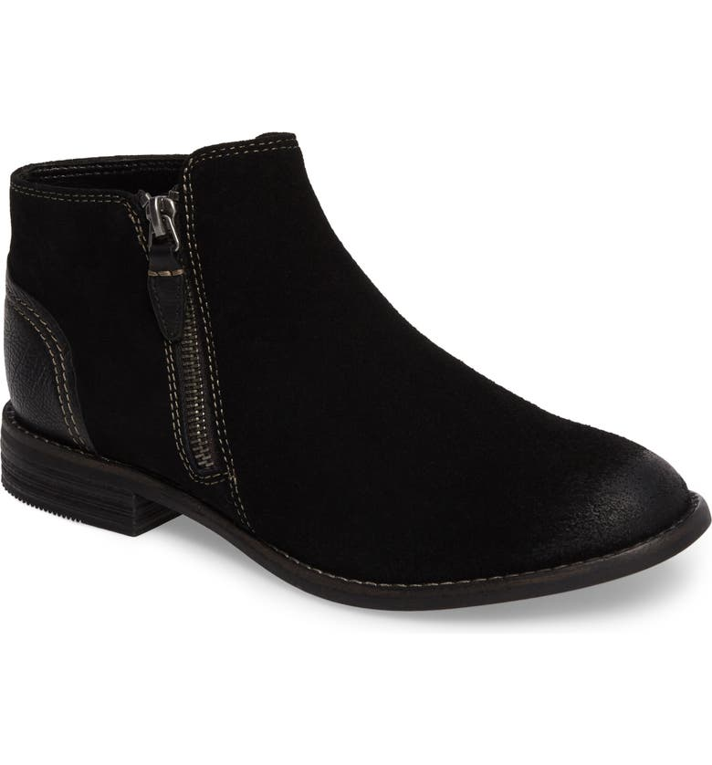CLARKS<SUP>®</SUP> Maypearl Juno Ankle Boot, Main, color, BLACK SUEDE
