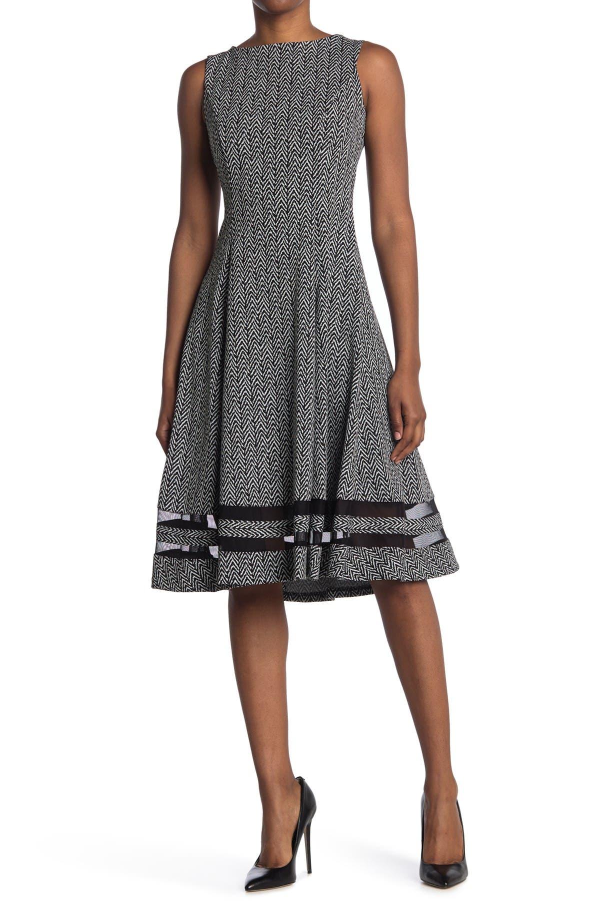 Image of Calvin Klein Herringbone Shadow Stripe Hem Fit & Flare Dress