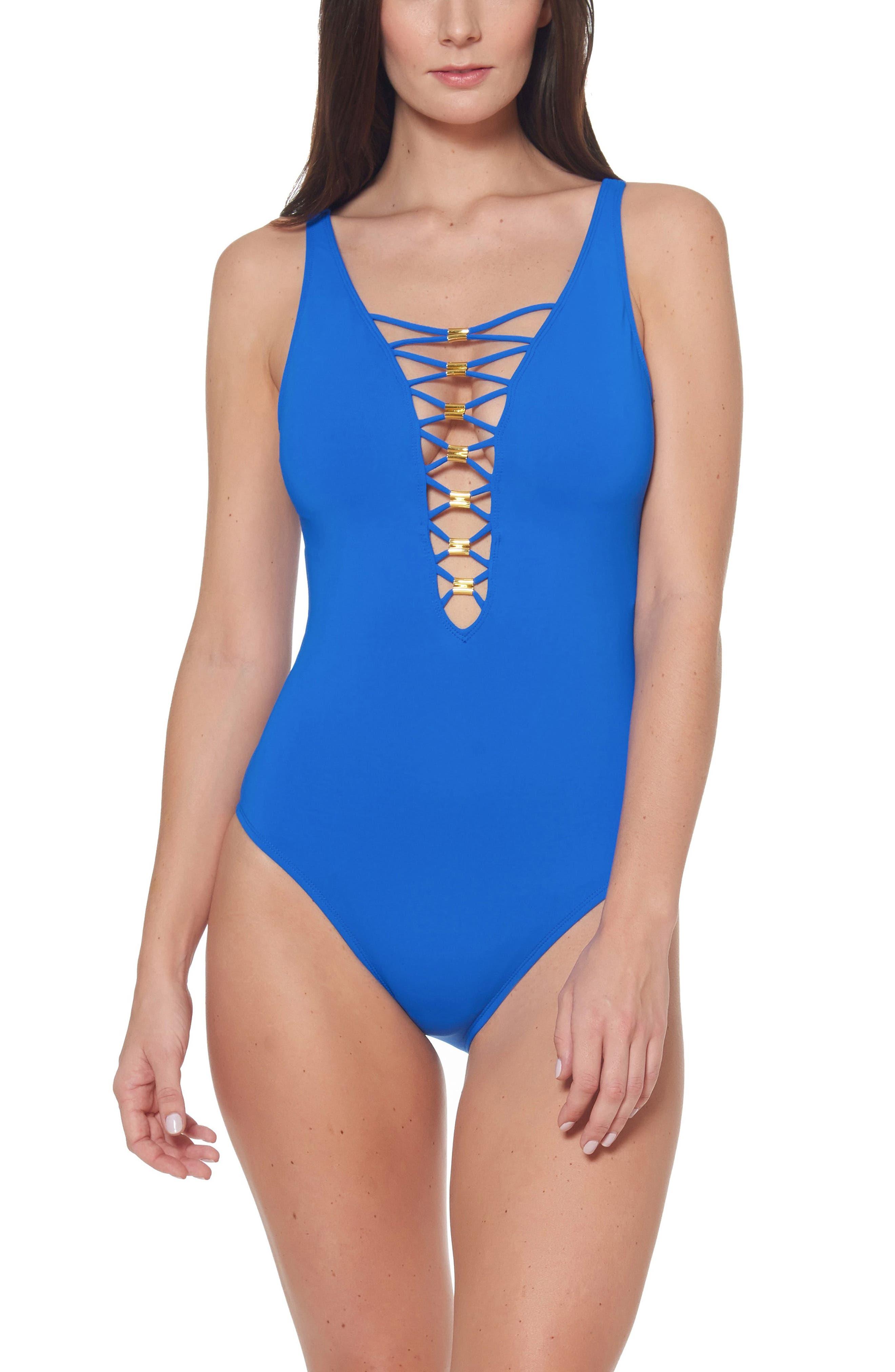 Bleu By Rod Beattie Lace Down One-Piece Swimsuit, Blue