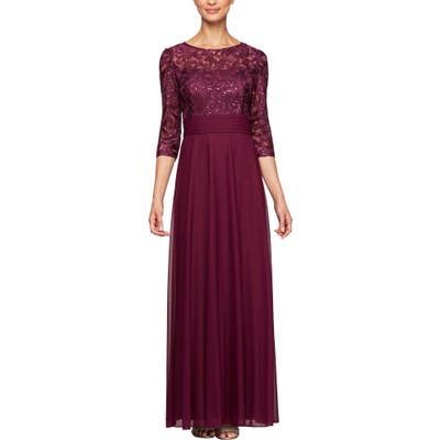 Alex Evenings Sequin Embroidered Chiffon A-Line Gown, Purple
