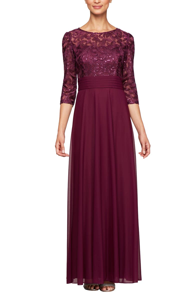 ALEX EVENINGS Sequin Embroidered Chiffon A-Line Gown, Main, color, 520