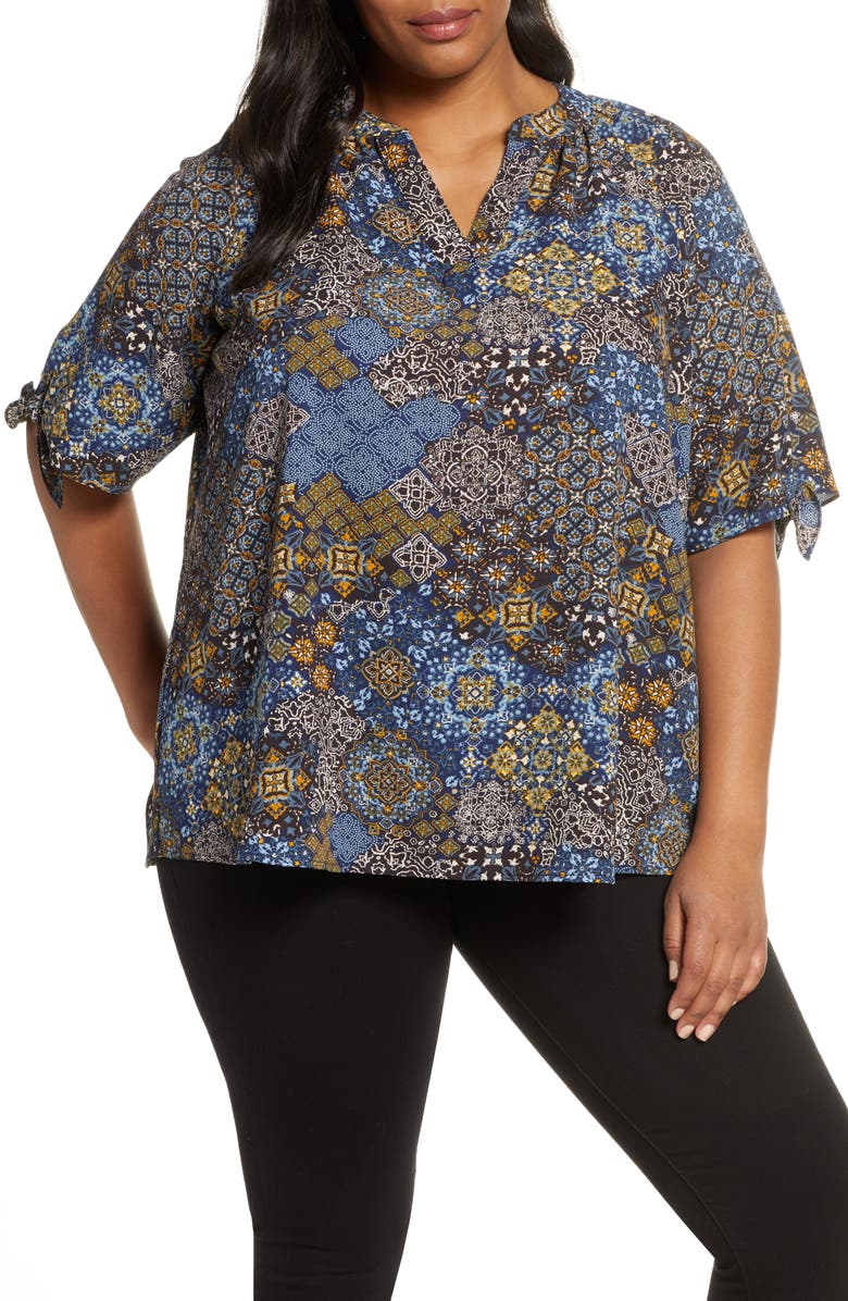 MICHAEL MICHAEL KORS Mega Paisley Tie Sleeve Blouse, Main, color, TRUE NAVY/ DARK CHAMBRAY