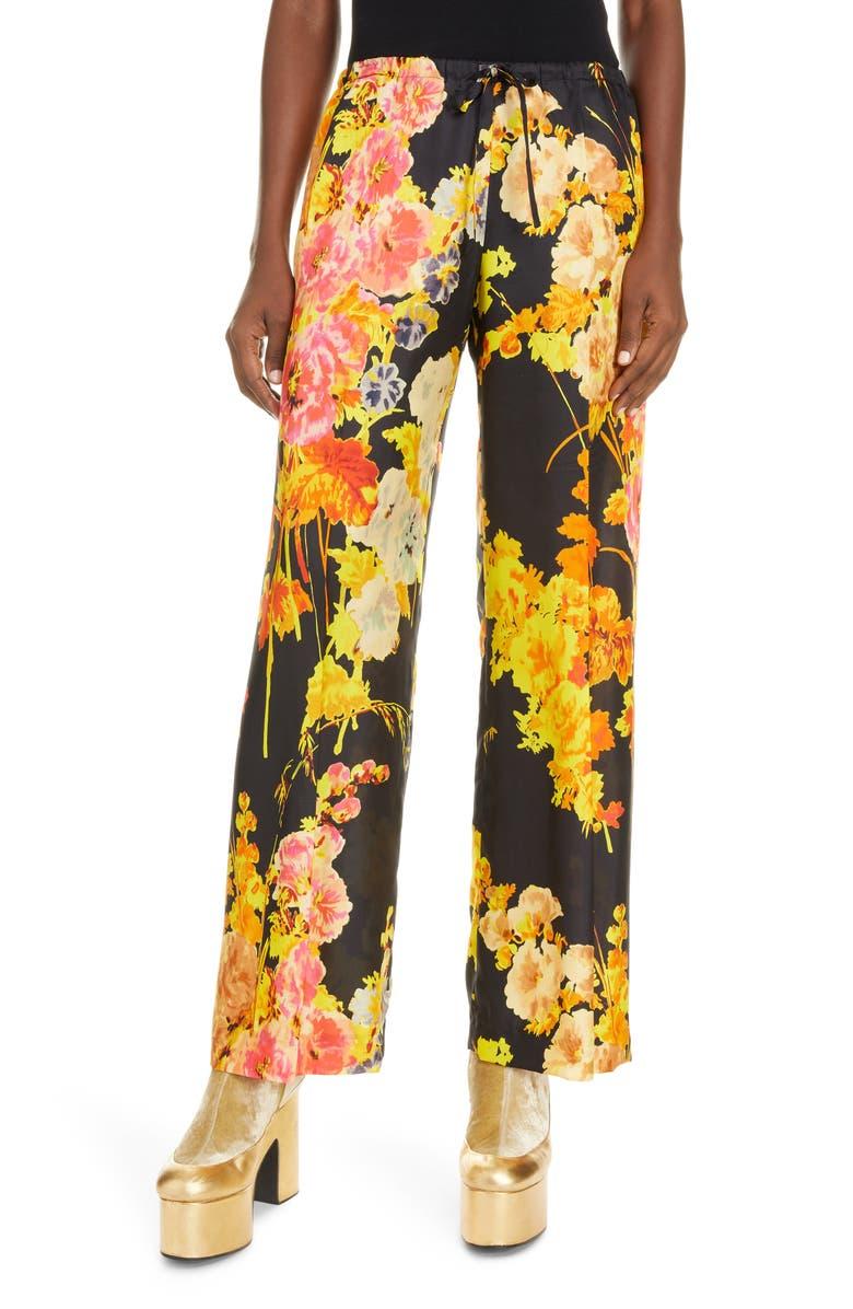 DRIES VAN NOTEN Puvis Floral Wide Leg Pants, Main, color, BLACK