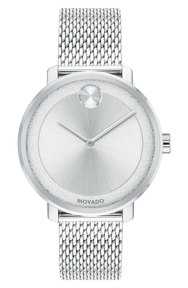 MOVADO Bold Mesh Bracelet Watch, 34mm, Main, color, SILVER