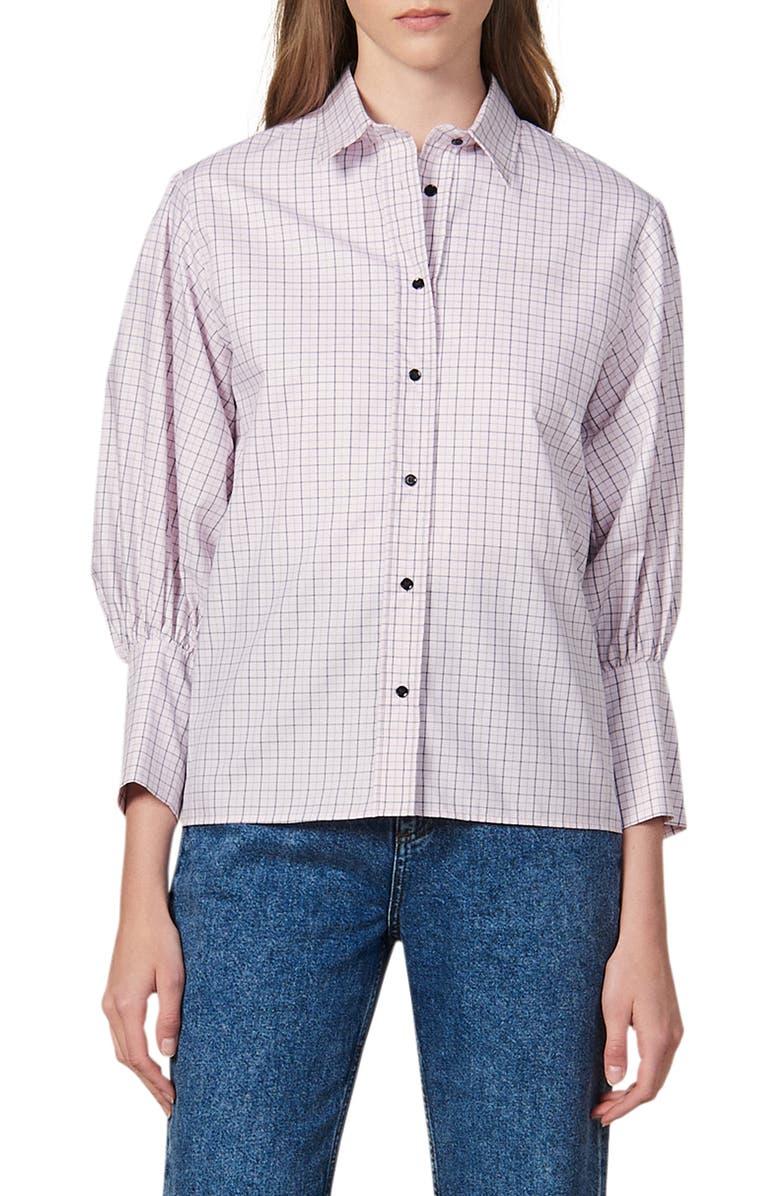 SANDRO Noale Windowpane Check Button-Up Cotton Shirt, Main, color, 650