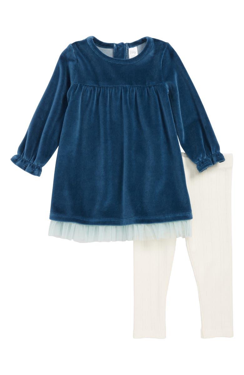 NORDSTROM Baby Velour Dress & Leggings Set, Main, color, 449