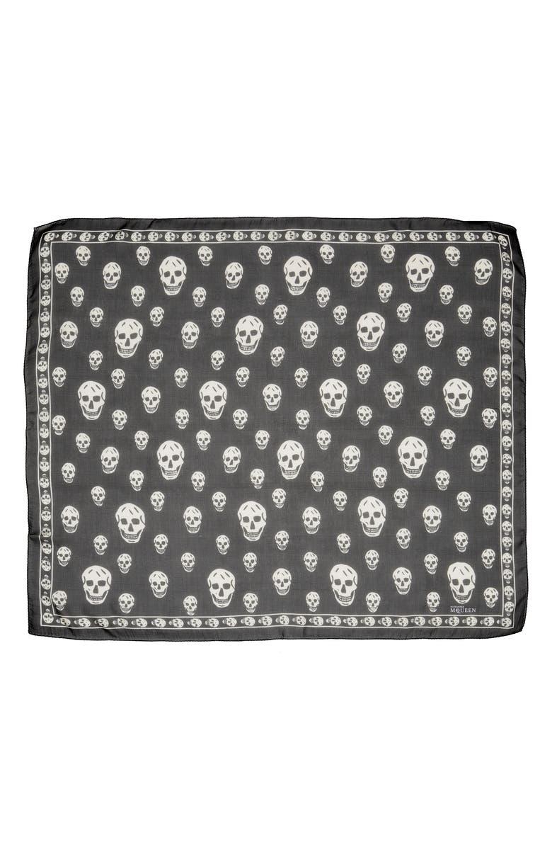 ALEXANDER MCQUEEN Skull Foulard Silk Scarf, Main, color, BLACK/ IVORY