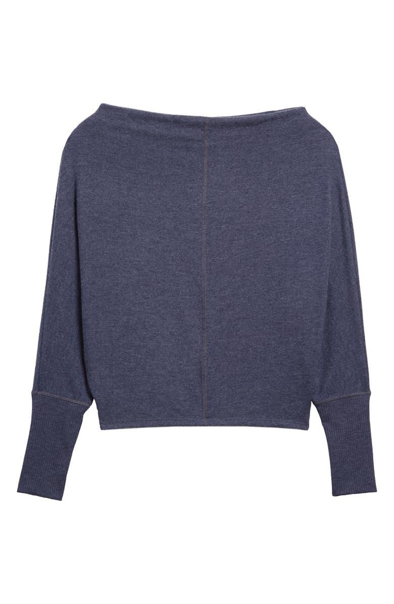 TREASURE & BOND Slouchy Long Sleeve Top, Main, color, NAVY NIGHT HEATHER