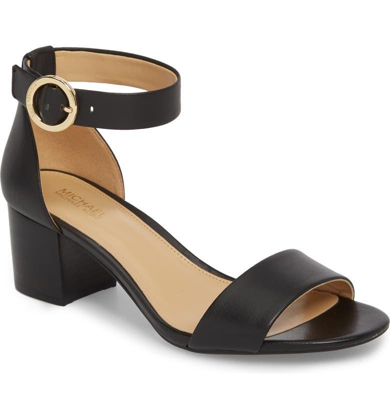 MICHAEL MICHAEL KORS Lena Block Heel Sandal, Main, color, 002