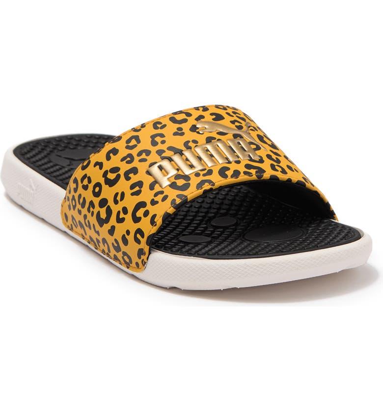 PUMA Cool Cat Roar Leopard Print Slide Sandal, Main, color, PUMA BLACK-IVORY GLOW