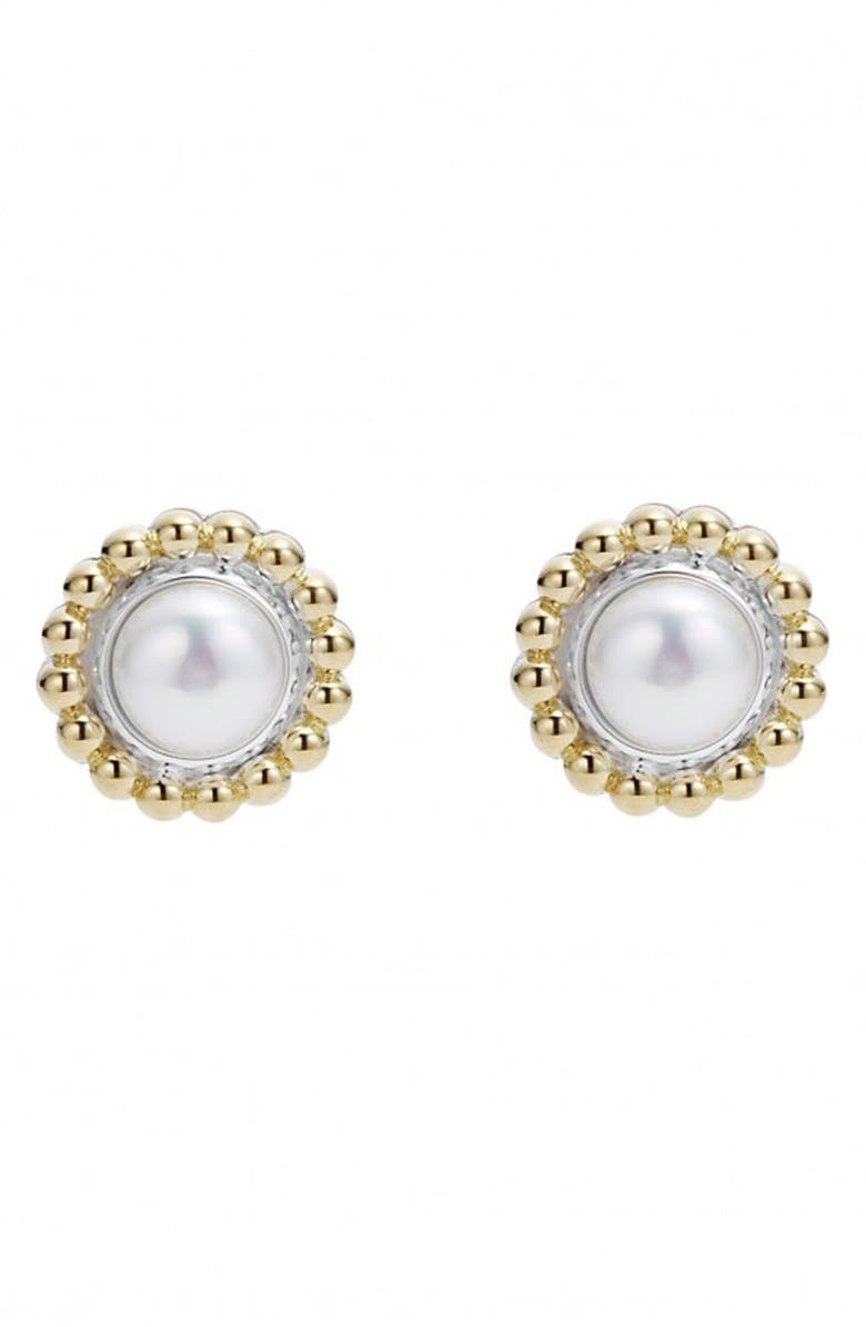 LAGOS Stone Stud Earrings, Main, color, PEARL