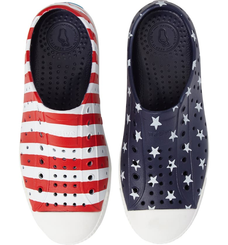 NATIVE SHOES Jefferson Perforated Slip-On, Main, color, RED BLUE/ SHELL WHITE/ STRIPE