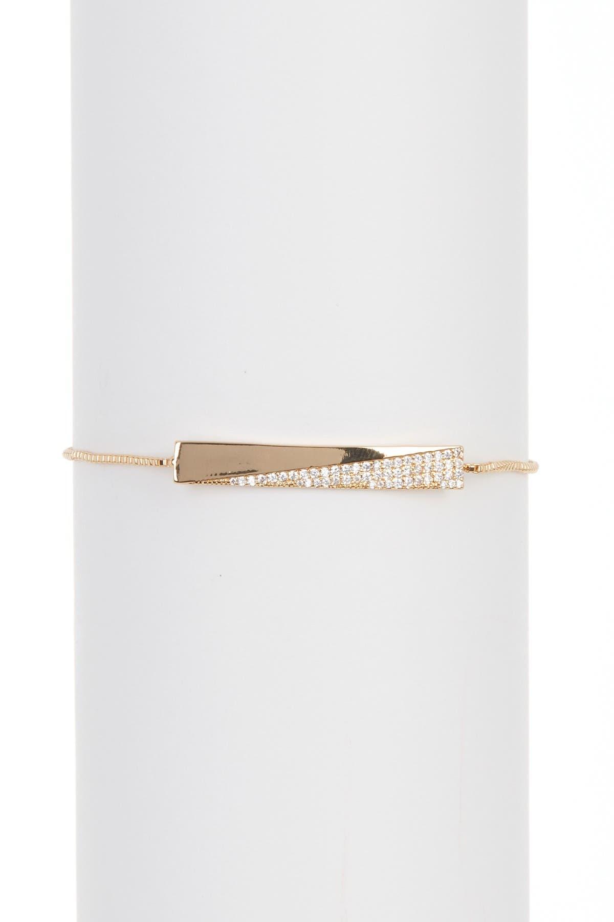 Image of Nordstrom Rack Metal & CZ Pave Bar Slider Bracelet