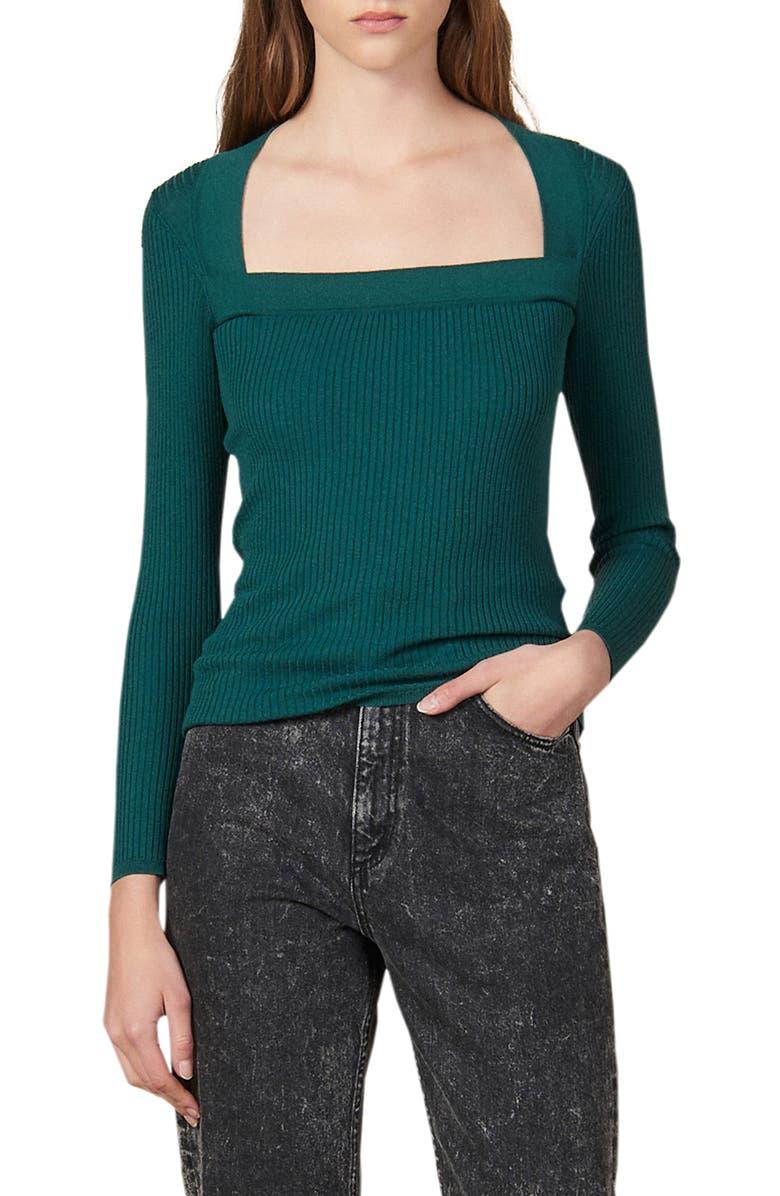SANDRO Molla Rib Sweater, Main, color, GREEN