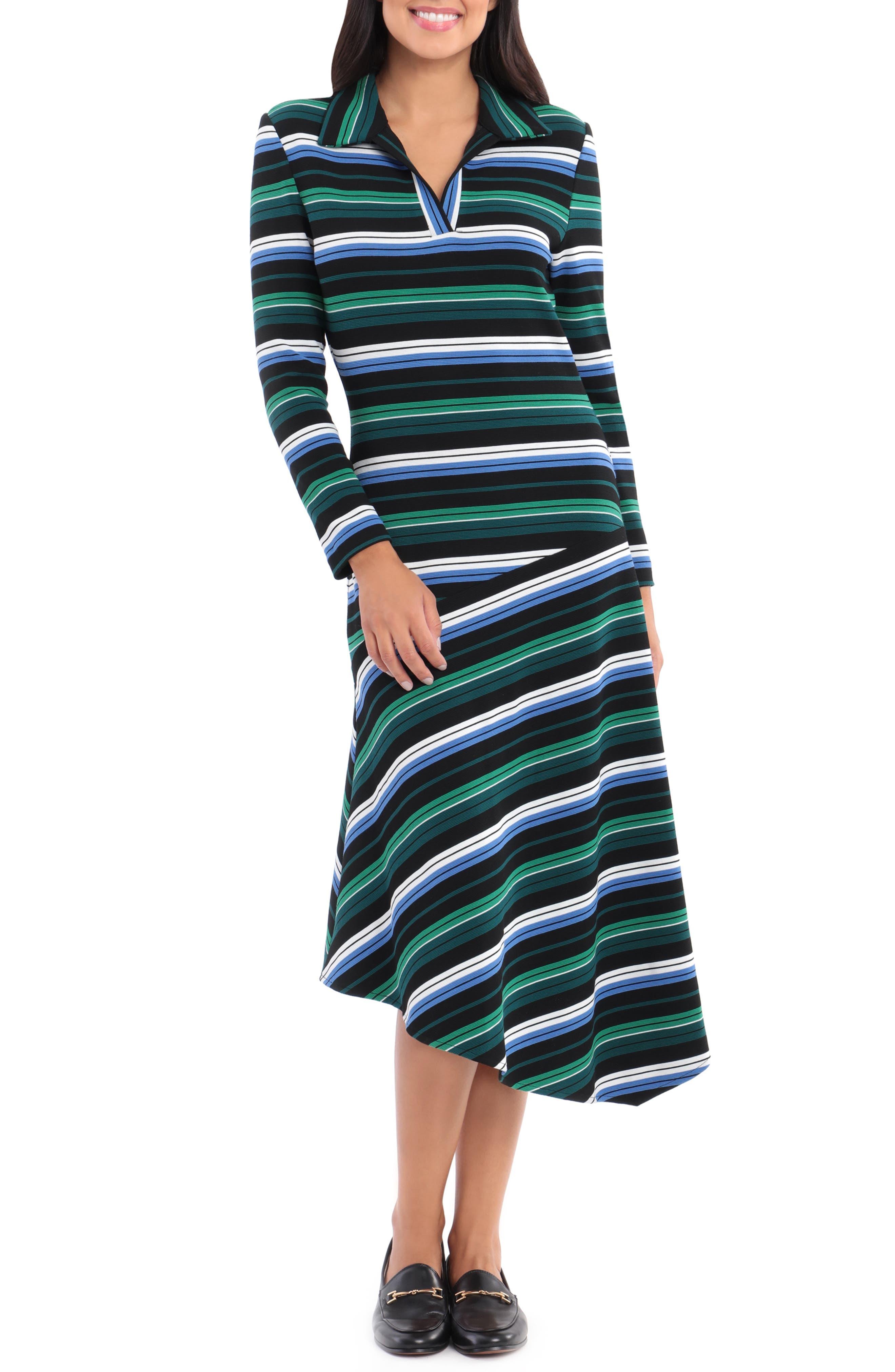 Multi Stripe Long Sleeve Dress