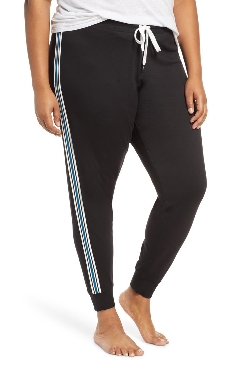PJ SALVAGE Track Star Lounge Jogger Pants, Main, color, BLACK