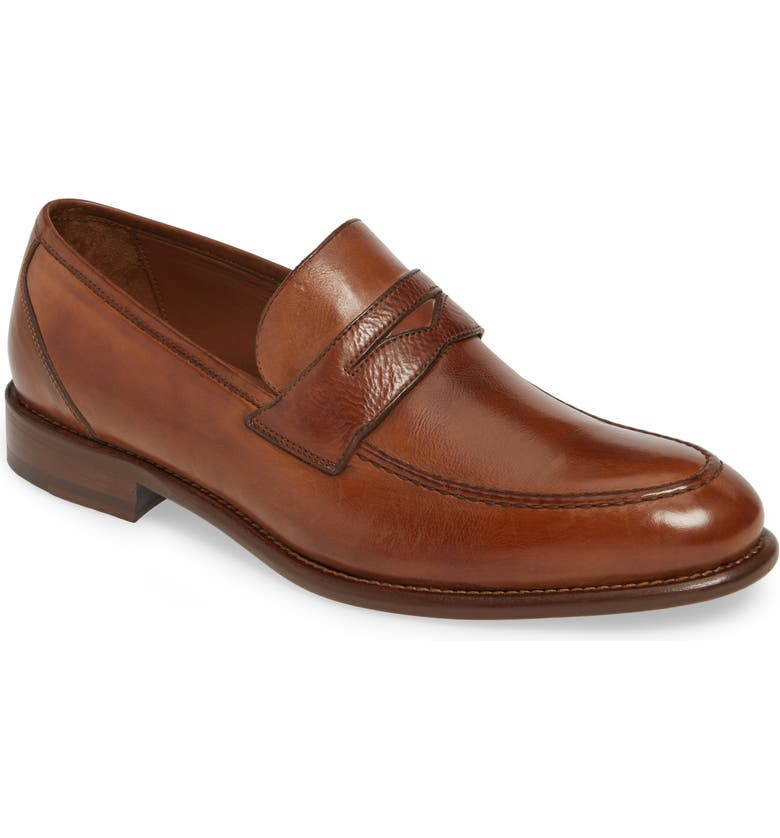JOHNSTON & MURPHY J&M 1850 Bryson Penny Loafer, Main, color, COGNAC LEATHER