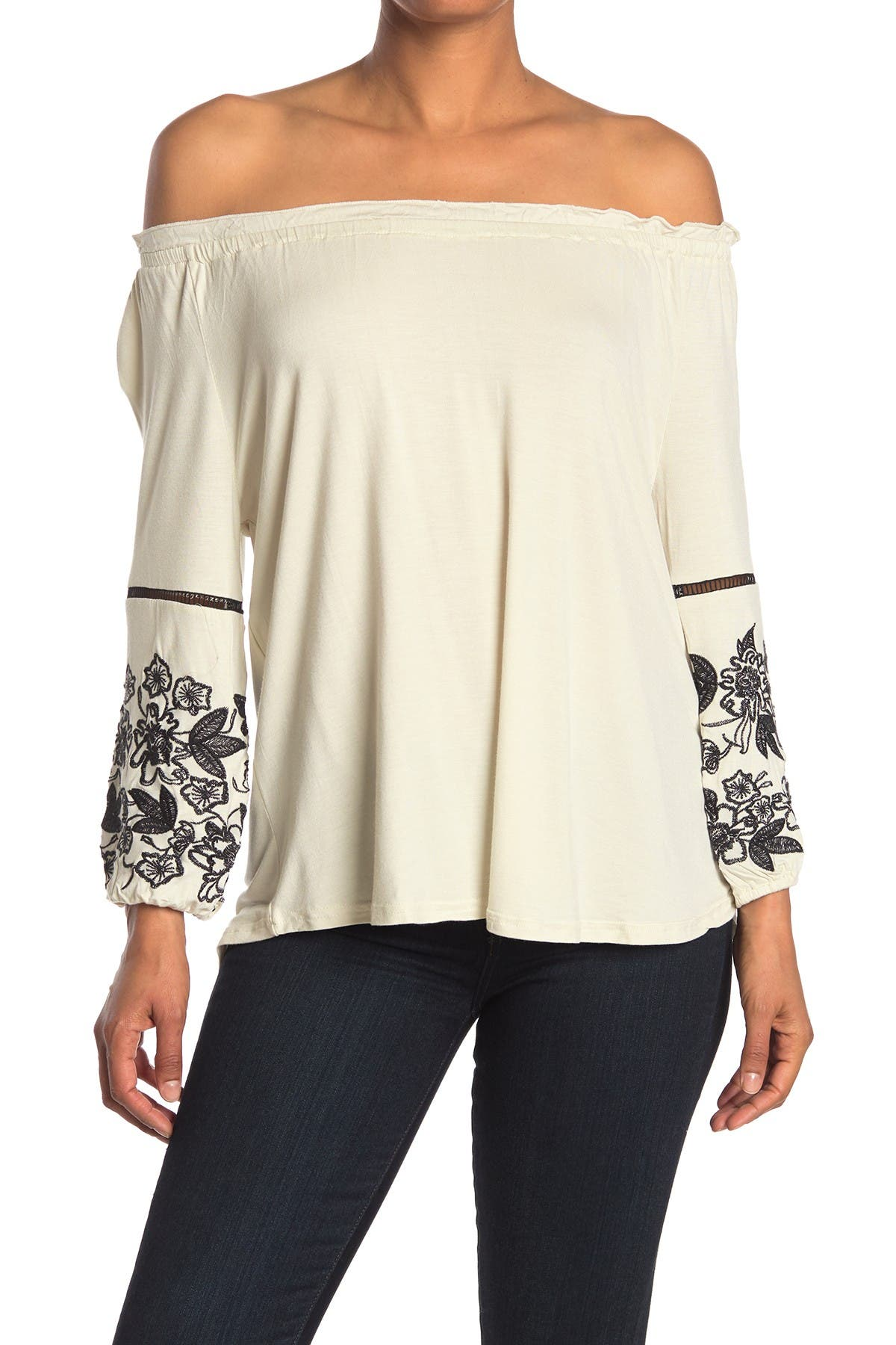 Image of Forgotten Grace Embroidered Off-the-Shoulder Peasant Blouse