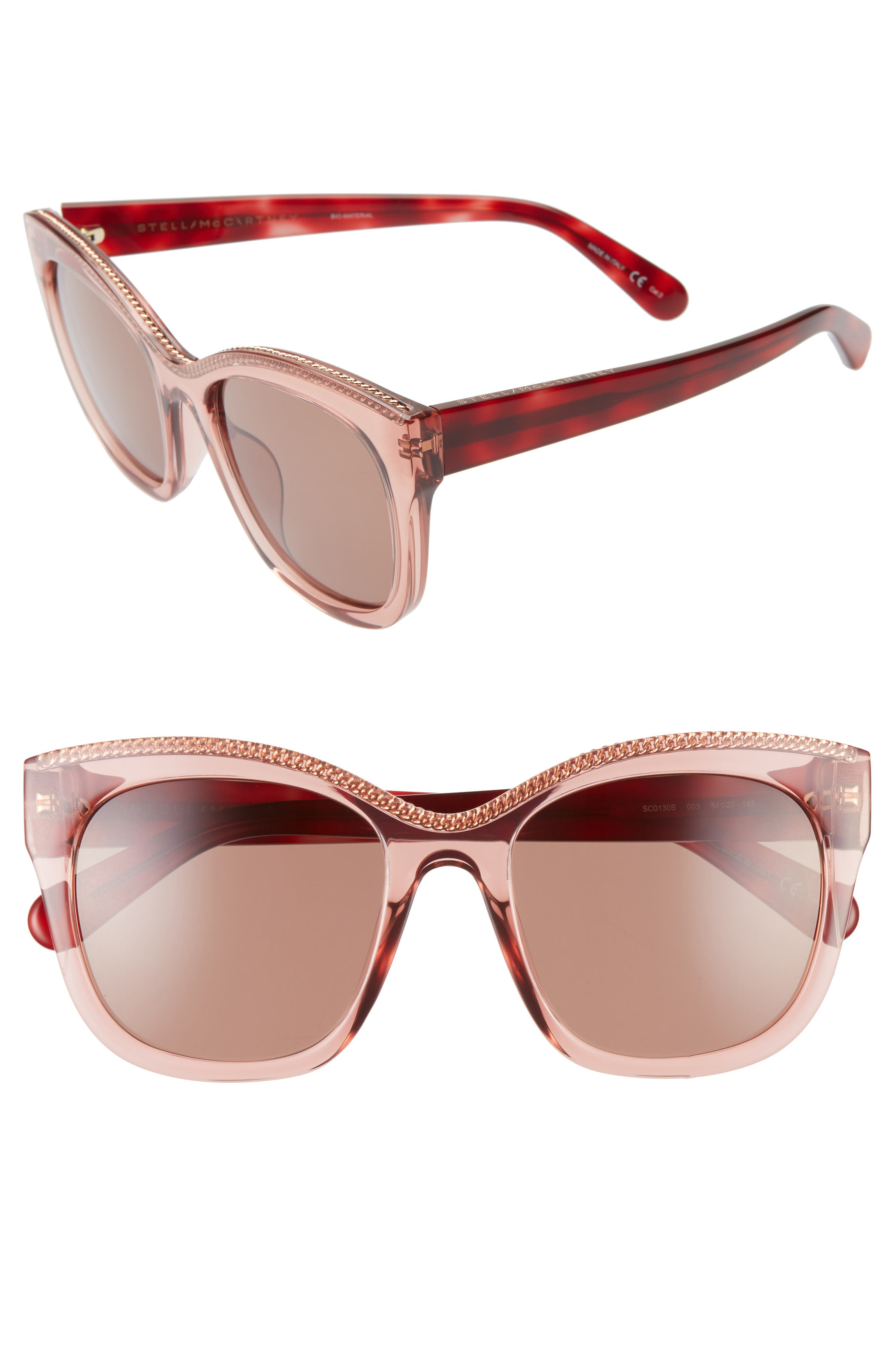 women's stella mccartney 54mm sunglasses - burgundy havana