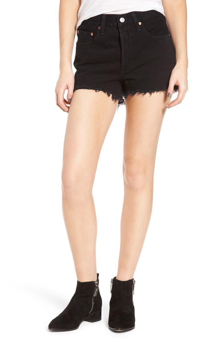 LEVI'S<SUP>®</SUP> 501<sup>®</sup> High Rise Denim Shorts, Main, color, 001