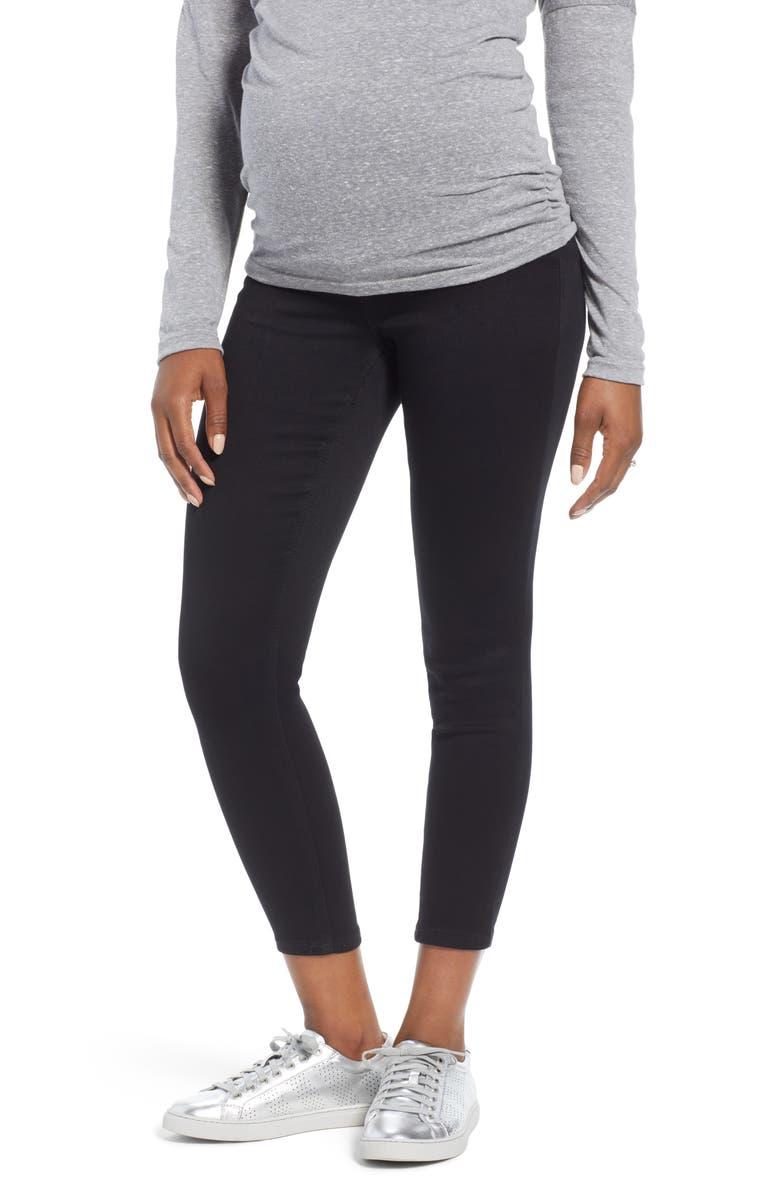 1822 DENIM Butter Ankle Super Skinny Maternity Jeans, Main, color, BLACK