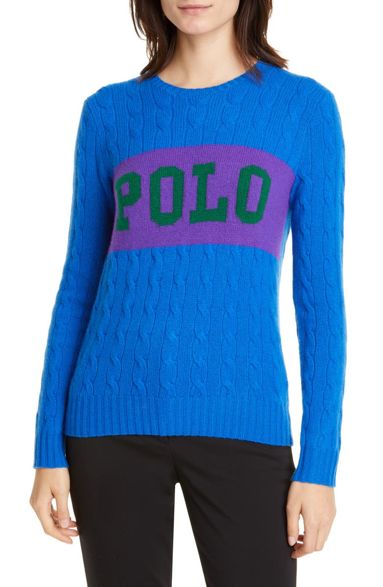 POLO RALPH LAUREN Cable Logo Colorblock Wool & Cashmere Sweater, Main, color, BLUE