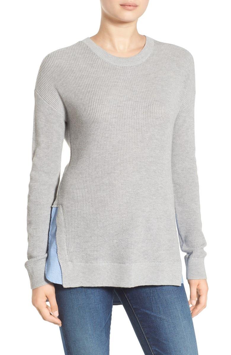TREASURE & BOND Treasure&Bond Layered Split Hem Sweater, Main, color, 021