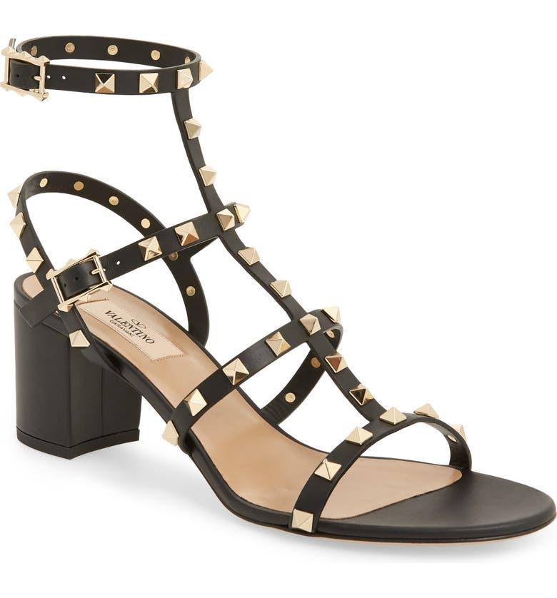VALENTINO GARAVANI Rockstud Block Heel Sandal, Main, color, NERO