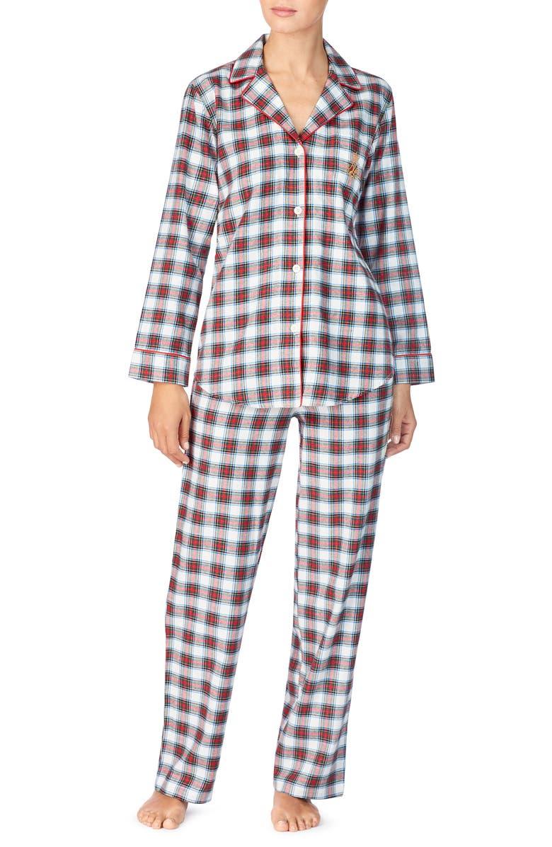 LAUREN RALPH LAUREN Plaid Cotton Pajamas, Main, color, 900