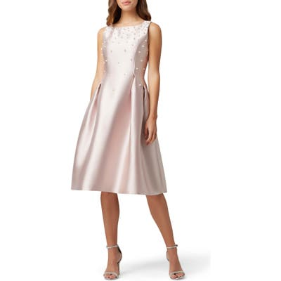 Tahari Embellished Mikado Cocktail Dress, Pink
