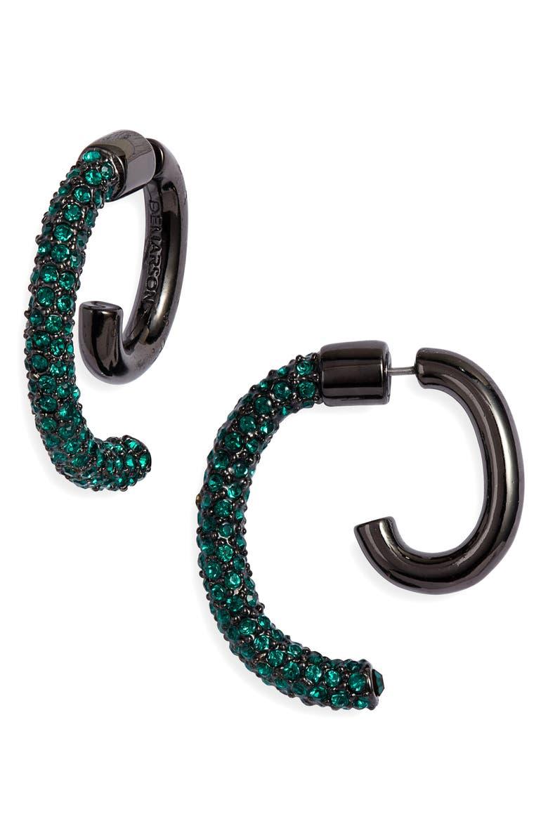 DEMARSON Luna Convertible Pavé Earrings, Main, color, GUNMETAL/EMERALD SWAR CRYSTALS
