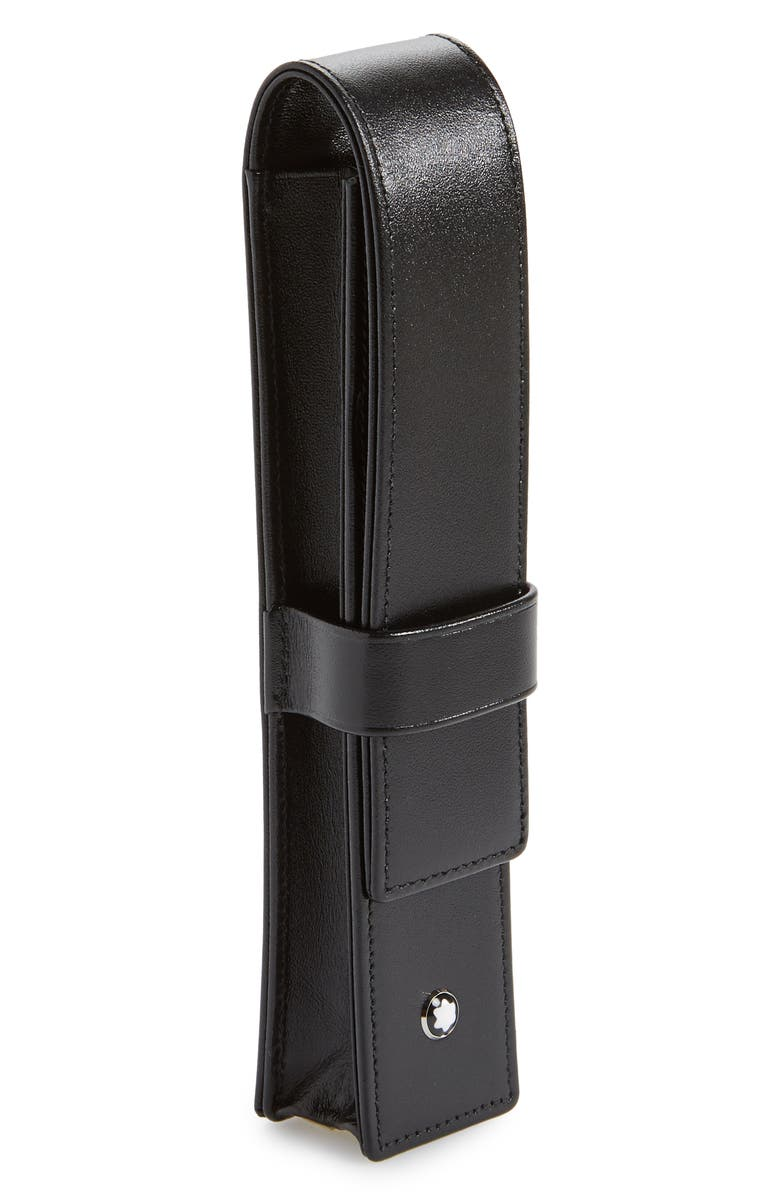 MONTBLANC Leather Pen Pouch, Main, color, BLACK