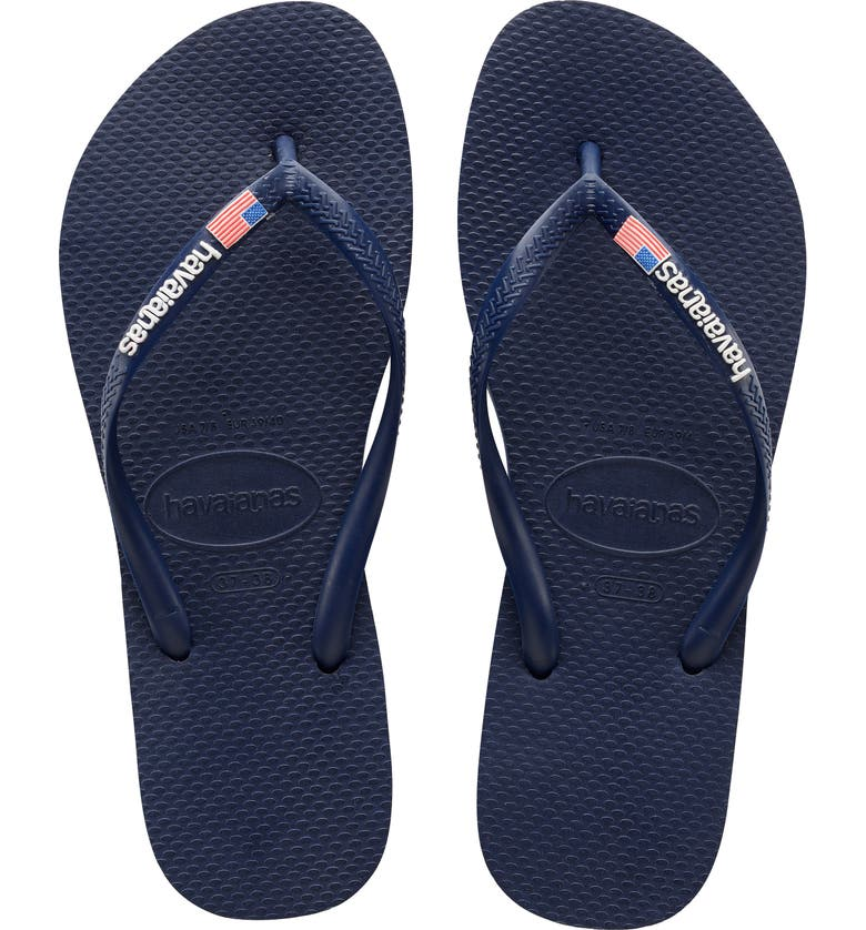 HAVAIANAS Slim USA Flip Flop, Main, color, NAVY BLUE