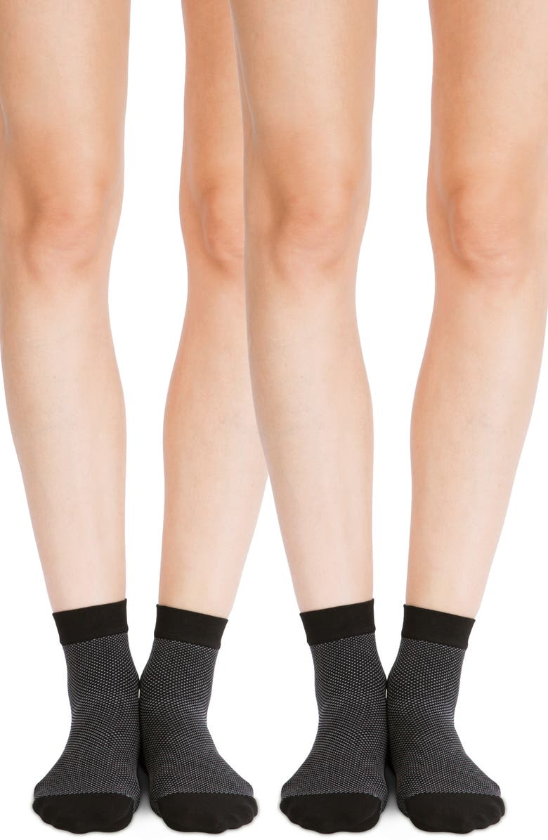 BELLY BANDIT<SUP>®</SUP> 2-Pack Compression Ankle Socks, Main, color, BLACK/ GREY